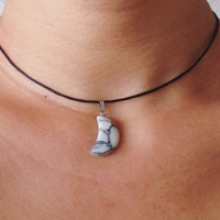 Gemstone Crescent Moon Choker Necklace - Waxed Cotton Cord