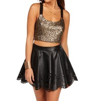 Promo-Black/Gold Sequin Bar Back Crop Top