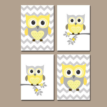 Girl Owl Nursery Baby Girl Nursery Wall Art Yellow Gray Nursery Prints Girl Bedroom Wall Art Girl Nursery Decor Owl Chevron Set of 4 Yellow