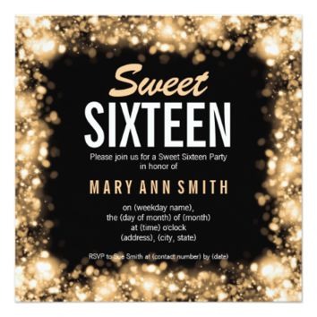Elegant Sweet Sixteen Party Gold Sparkling Lights 5.25x5.25 Square Paper Invitation Card
