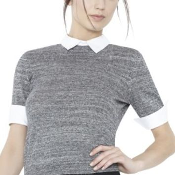 alice + olivia | SHORT SLEEVE FITTED CREW NECK SWEATER WITH COLLAR