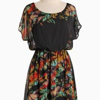 blooming bouquet black dress