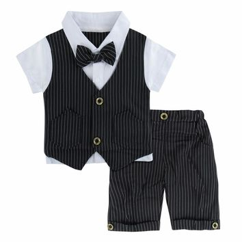 Newborn Baby Boy Clothes Gentleman Formal Suit Wedding Baptism suit for Infant Summer Clothing Set 2PCS Shirt Striped Vest+Short