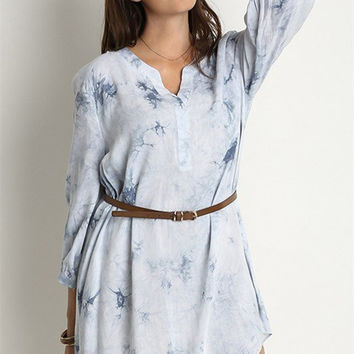 Plus Size 3/4 Sleeve Tie Dye Shift Dress