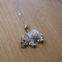 Silver Rhinestone Elephant Necklace | Candy's Cottage
