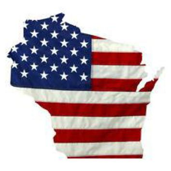 State of Wisconsin Realistic American Flag Window Decal - Various Sizes