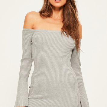 Missguided - Grey Flare Sleeve Off Shoulder Mini Sweater Dress