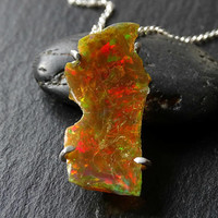 rough welo opal necklace mens, raw opal pendant mens crystal pendant, golden opal pendant, October birthstone opal anniversary gift for her