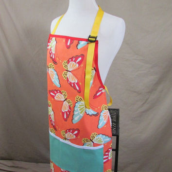 Monarch Butterfly Apron Durable and Adjustable Handmade Kitchen, Garden or Crafting Apron Orange Blue and Yellow