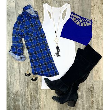 Penny Plaid Flannel Top - Royal/Yellow