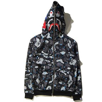 BAPE Women Men Fashion Shark Print Autumn Winter Hoodie Long Sleeve Sweater Top Zipper Coat Jacket