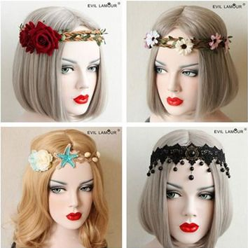 Fashion Party Prom Queen Hair Accessories Leaf Flower Crown Headband For Women Night Bar Christmas Halloween Hairband 4