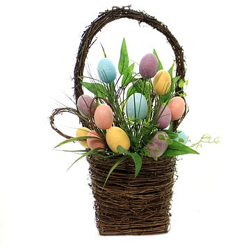 Easter EGG BASKET Grapevine Home Decor Z5594