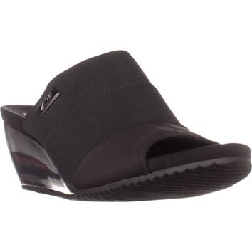 AK Anne Klein Sport Chanay Slip On Sandals, Black/Black, 9 US