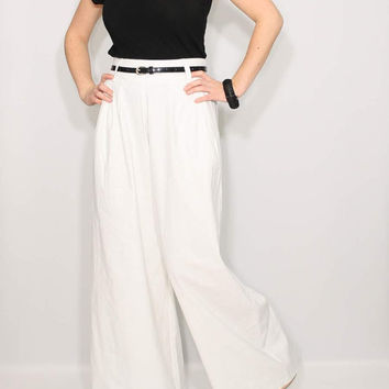 White Linen pants Wide leg high waist pants
