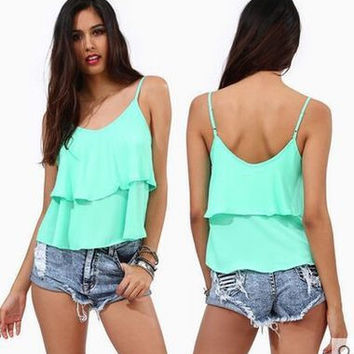 SIMPLE - Chiffon Slim Sexy Strap Top Women Tank Vest b4575