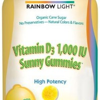 Rainbow Light Vitamin D3 (1000 IU) Sunny Gummies, Lemon Flavor, 50-Count Gummies (Pack of 3)