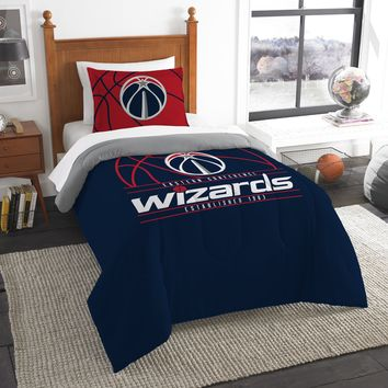 """Wizards OFFICIAL National Basketball Association, Bedding, """"Reverse Slam"""" Printed Twin Comforter (64""""x 86"""") & 1 Sham (24""""x 30"""") Set  by The Northwest Company"""