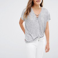 New Look Lace Up T-Shirt at asos.com