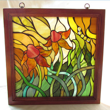 Stained Glass Mosaic Artwork - Flower I - 17.5 X 17.5 inches - Wooden frame - By Glass artist Seba