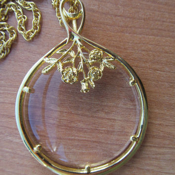 Magnifying glass necklace, 1980 vintage necklace, collectible jewelry