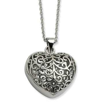 Stainless Steel Filigree Puffed Heart Pendant 22in Necklace