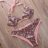 Sequin Strappy Bikini Set Swimsuit Swimwear