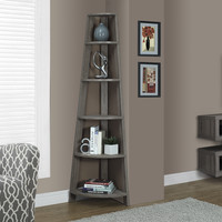 "Dark Taupe Reclaimed-Look 72""H Corner Accent Etagere"
