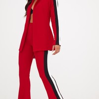 Red Sports Stripe Flared Trouser
