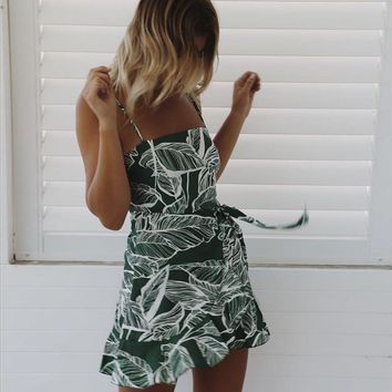 Design Irregular Sleeveless Printing Leaves Dress
