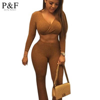 Women Two Piece Outfits Pants Set Rompers Jumpsuit Long loose Pants 2 Piece Set gary v neck Short Crop Tops Bodycon Palysuit