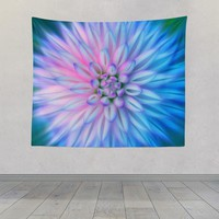 Pink and Blue Dahlia Flower Abstract Design Tapestry Wall Hanging Meditation Yoga Grunge Hippie