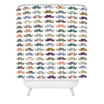 Bianca Green Mustache Mania Shower Curtain
