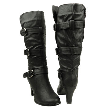 Womens Mid Calf Boots Triple Adjustable Buckles Side Zipper Closure Black SZ