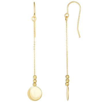 10K Yellow Gold Diamond Cut Bead With Flat Shiny Disc Drop Earrings