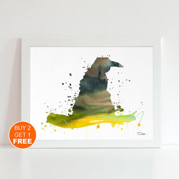 Harry Potter Sorting hat  watercolor illustration art print, Harry Potter hogwarts castle poster, gryffindor Harry Potter Gift, Movie poster