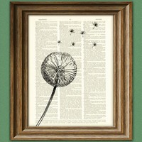 Dandelion flower parachute seed in the wind by collageOrama