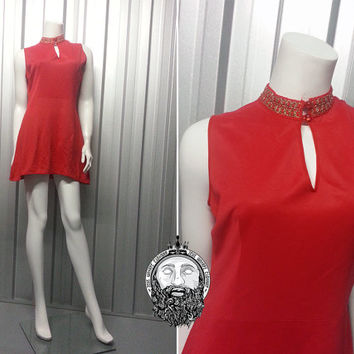Vintage 60s Mod Red and Gold Mini Shift Dress High Neck Sleeveless Dress Keyhole Dress Gogo Outfit 1960s Clothing Peephole Scooter Girl