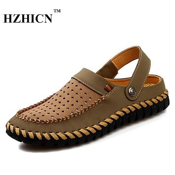 2017 Famous Brand Designer Men Slippers Summer Loafers Breathable Flats Handmade Zapatillas Hombre Casual Beach Shoes Flip Flops