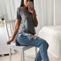 Irregular Side Lace Up T Shirts Women Back Split Kitting Casual Tee Shirts Spring O-Neck Short Sleeve Tee Tops
