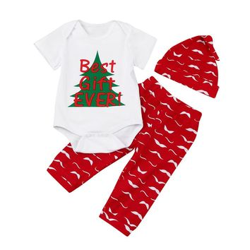 2017 Christmas Newborn Baby Clothes Best Gift Ever Infant Boy Girl Short Sleeve Romper Tops+Pant Trouser Hat 3PCS Clothing Set