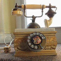 Antique telephone, vintage lady phone, Poland, marble, hand carved, working phone, Victorian collectable
