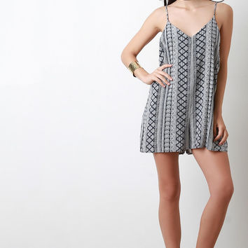 Sleeveless Printed Flowy Romper