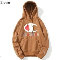 Champion autumn and winter tide brand loose letter embroidery hooded sweater brown