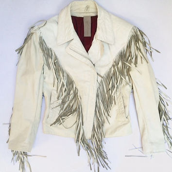 The Melrose | Women's White Leather Fringe Bomber by wolf and lamb