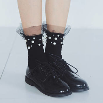 Tulle socks with pearls, lace socks, wedding socks