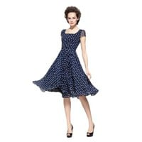 New Womens Square Neck Short Sleeves Slim Polka Dot Midi Chiffon Dress Blue