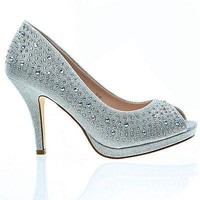 Robin58A Silver Sparkle By De Blossom, Dress Platform Peep Toe Crystal Studded Pump Up Heels
