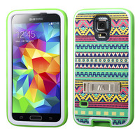 MYBAT VERGE Hybrid M-Stand Case for Galaxy S5 - Tribal Sun/Green