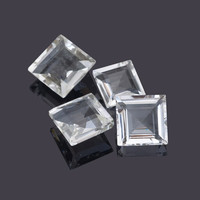 Supplies Loose Gemstone, Genuine Crystal Quartz Square 10 mm AAA Grade Wholesale Loose Gemstone Cut - 10Pcs, Piece for Making Jewelry
